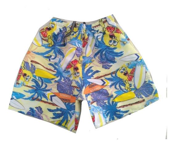 Kit 3 Shorts Tactel Infantil Menino Mauricinho Praia Verão