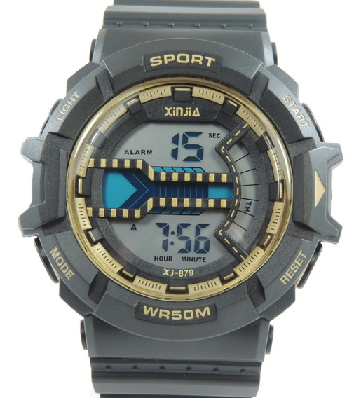 Relógio Masculino Xinjia-879 Dourado Prova De Água Cronometro Calendário Alarme E Luz Esporte Shock Frete Grátis