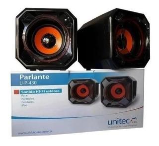 Parlante Bafle Entrada 3.5mm Para Pc Celular Unitec U-p-430