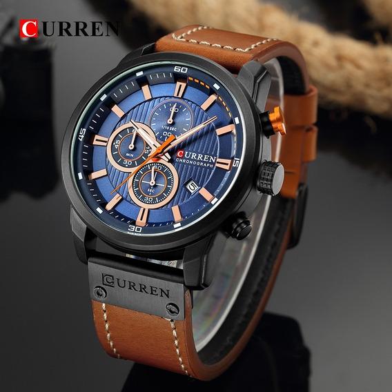 Relógio De Pulso Curren (pulseira De Couro + Prova D