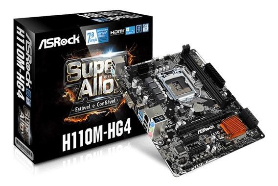 Placa Mãe Asrock 1151 Intel 6º E 7º Geração Ddr4 H110m-hg4