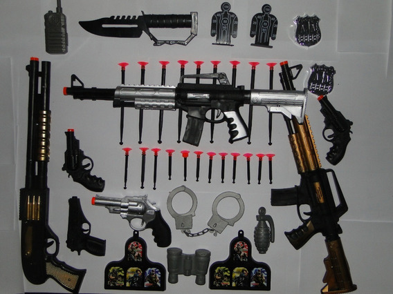 Kit Policial Arminha Brinquedo Fuzil Revolver Militar Civil