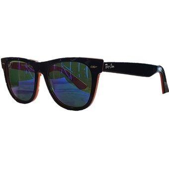 9745f5c71a Gafas De Sol Ray Ban Wayfarer Marco Negro/naranja Lente Azul ...