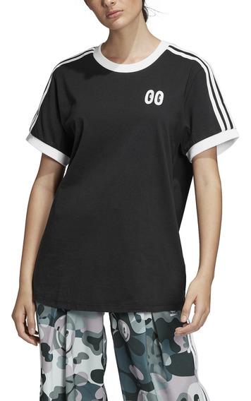 Remera adidas Originals Moda 3 Stripes Tee Mujer Ng/bl