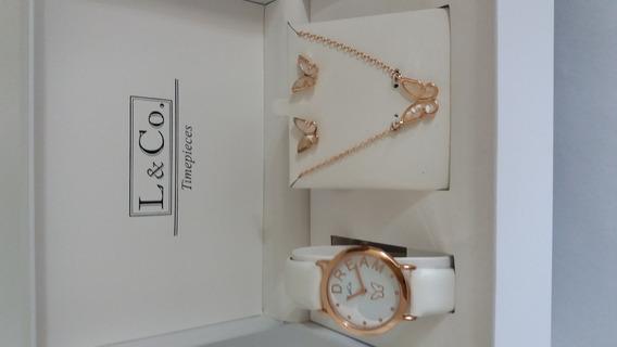 Kit Relógio Gargantilha E Brincos L & Co. Timepieces