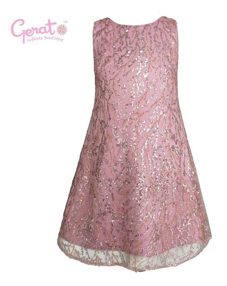 Vestido De Fiesta Para Niña Gerat Junior Color Palo De Rosa
