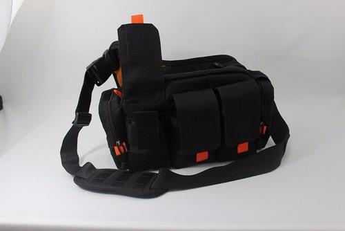 Bolso Tactico 3 Bolsillos Negro Y Naranja  Igual Al 5.11