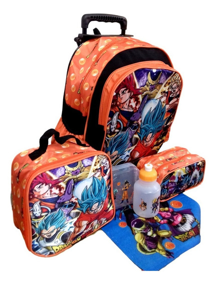Kit Mochila Escolar Infantil Dragon Ball Estojo Lancheira