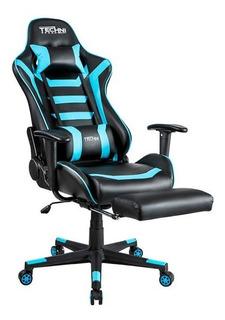 Silla Gamer Reclinable 180 ° Azul Con Negro Technisport