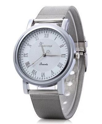 Relógio Feminino Pulso Aço Inox Prata/branco Geneva Promoção