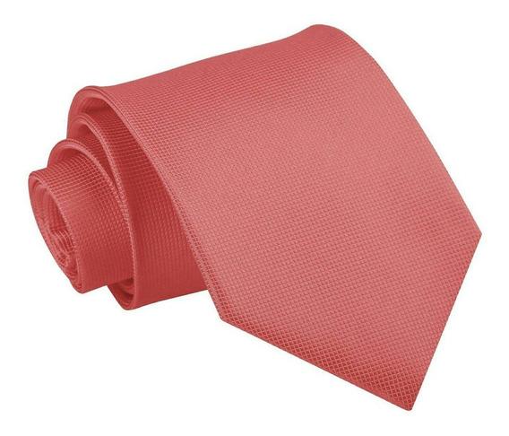 Corbata Tono Coral 9cm Ancho | Textura Microcuadros Calidad