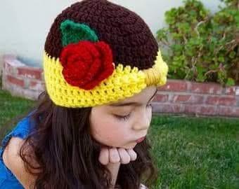 Touca Infantil A Bela E A Fera De Croche