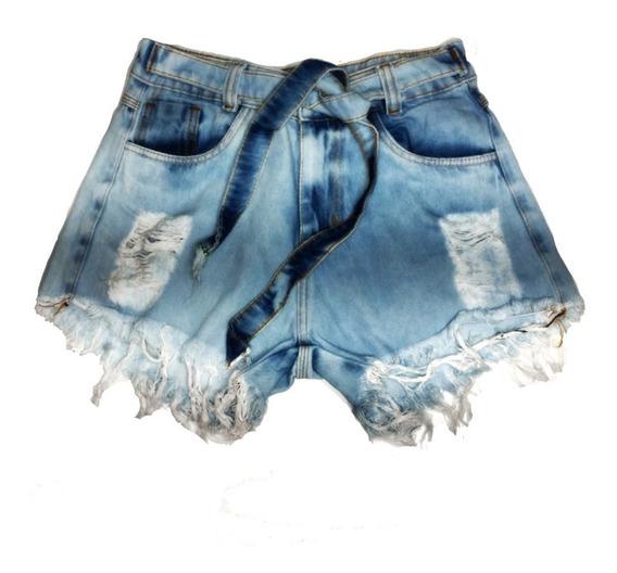 Shorts Jeans Feminino Destroyed Cintura Alta Rasgado St016