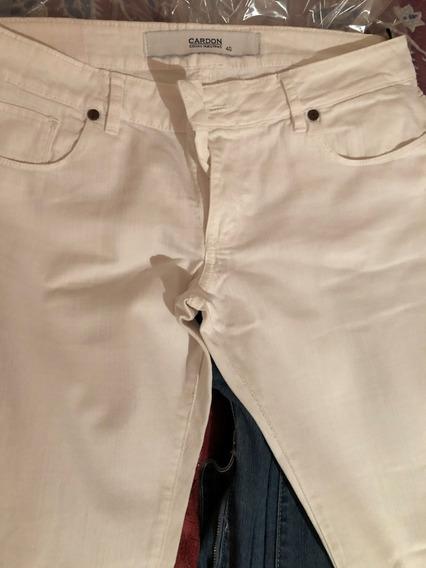 Pantalon Jean Blanco Cardon Con Elastano