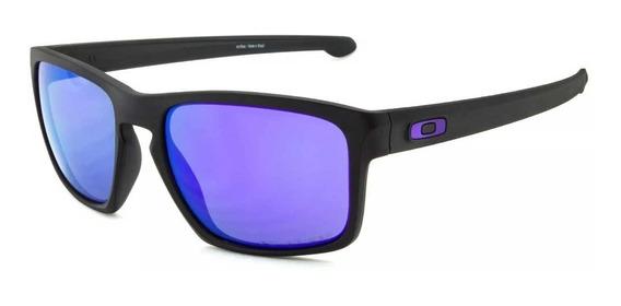 Óculos De Sol Oakley Sliver Matte Black / Violet Iridium Pol
