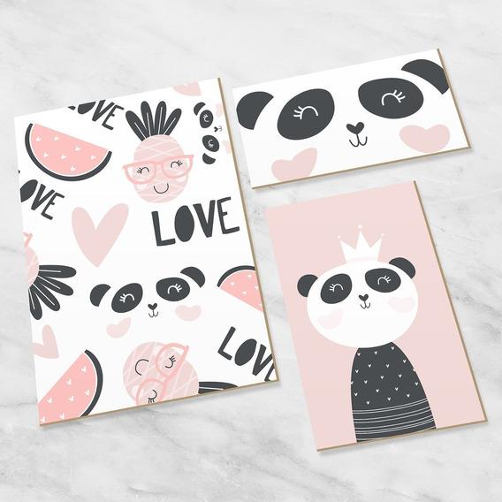 Quadro P/quarto Bebe Decorativo Infantil Love Panda
