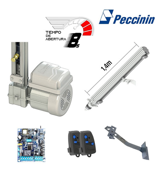 Kit Motor Portão Eletrônico Basculante Peccinin 1,40m- 8 Seg
