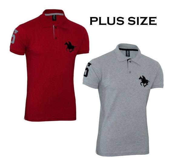 Kit Polos Vermelho E Cinza Plus Size Original Polo Rg518