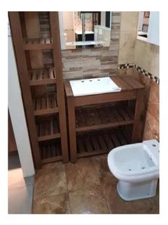 Combo Vanitory Madera Bacha Tolva Organizador Baño