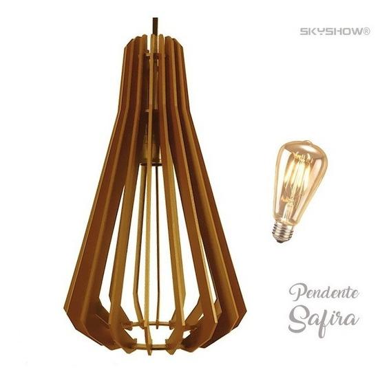 Pendente Madeira Safira + Lamp Gratis Led Retro Vintage Loft