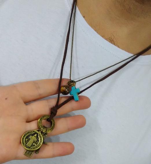 Colar Masculino Medalhinha De São Bento Com Pedra Natural Sb