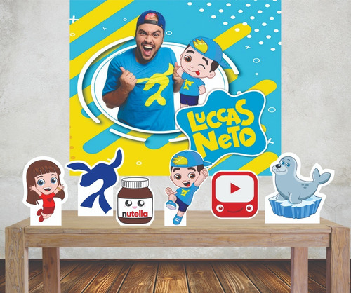 Imagem 1 de 5 de Kit Painel Poli Banner + Displays Festa Lucas Neto