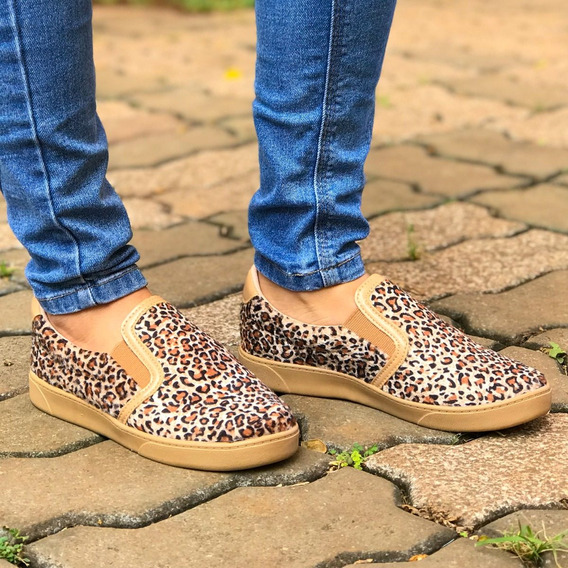 Tênis Feminino Tumblr Animal Print Slip On + Meias De Brinde