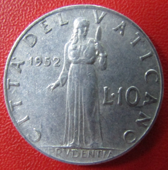 Vaticano Moneda 1952 10 Liras Unc Pio X I I Km 52.1