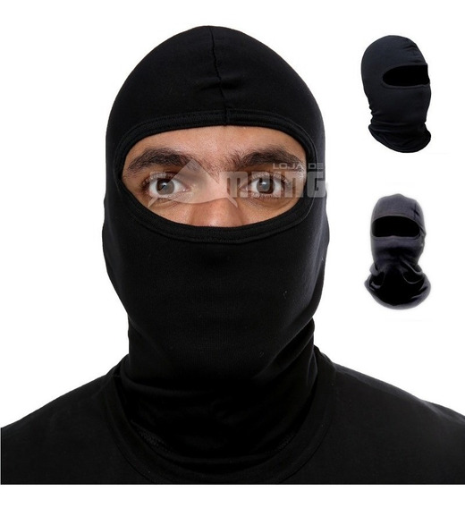 Touca Ninja Preta Balaclava Proteção Malha Algodão Fox Boy