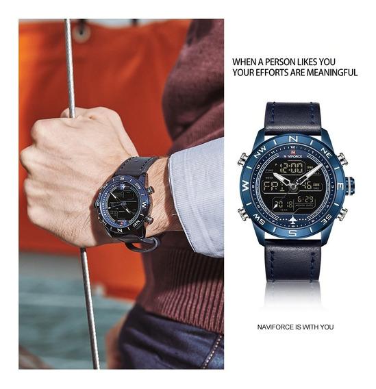 Relógio Naviforce Importado Pulseira Couro Novo E Original !