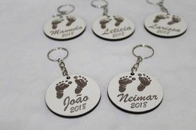50 Chaveiros Lembrancinha Personalizados Maternidade Chá Mdf