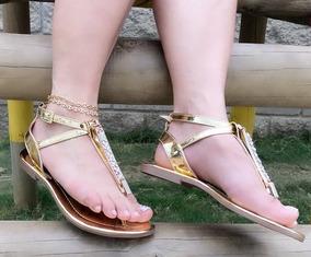 De Plana Moda Sandalia Elegancia Y Mujer Color Dorado uiPkXZ