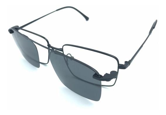 Óculos Armações Para Grau Masculino + Clipon Trend-3049 New