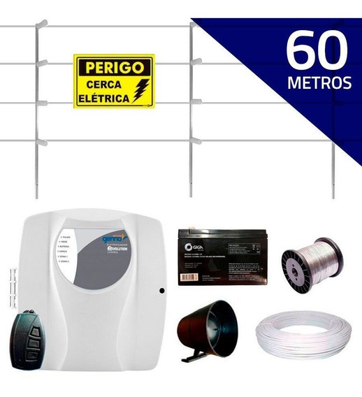 Kit Cerca Elétrica 60 Metros Genno Haste 75cm Controle Rem
