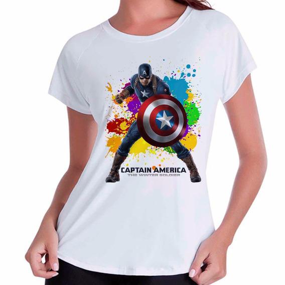 Camiseta Babylook Capitão América Marvel