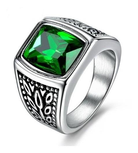Anel Masculino Homem Aço Titânio Pedra Zircônia Verde Lindo