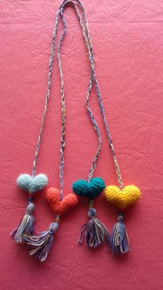 Sujeta Cortinas Amigurumi Crochet Corazones