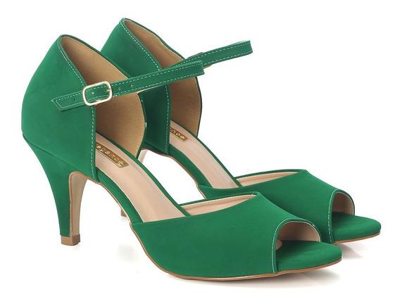 Sandália Nobuck Verde E Salto Fino Médio