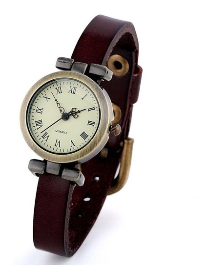 Reloj Vintage Cuarzo Marca Shsby Modelo Roma Correa Café