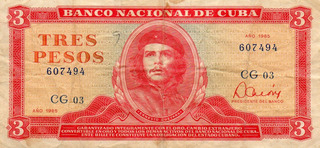 * Billete De 3 Pesos Cubanos (1985) Che Guevara, Cuba *