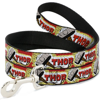Buckle-down Thor & Hammer Red/yellow/white Pet Leash, 6