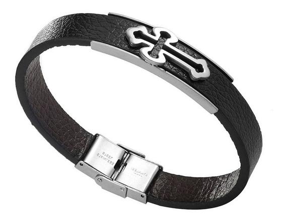 Bracelete Pulseira Couro Cruz Aço Inox Crucifixo Luxo Fé