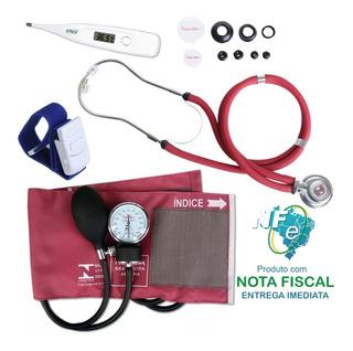 Kit Enfermagem Premium Esfig Esteto Vinho Termômetro Garrote