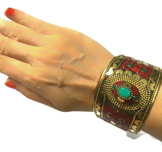 Bracelete Indiano Dourado Bronze Importados