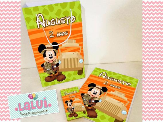 20 Kit Colorir Mickey Safari Sacola Revista Personalizados