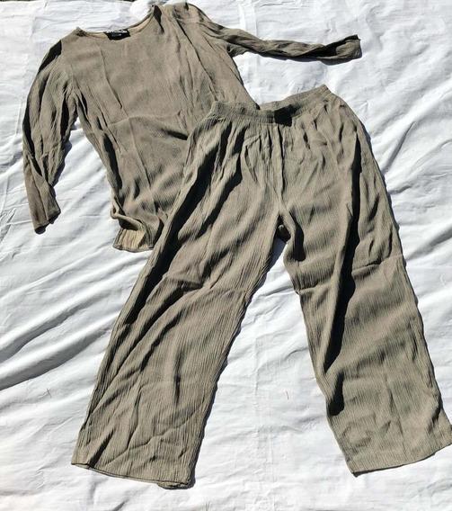 Conjunto Mujer Blusa Pantalon Verde S/m Marca Rexx Importado