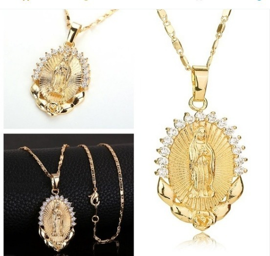 Colar E Medalha Virgem Maria 18 K Banhado A Ouro Católica