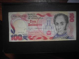 Billetes De 100 Bolívares De Venezuela 1980 Conmemorativo