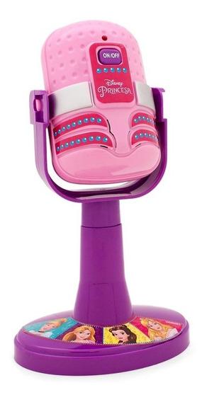 Microfone Com Amplificador Infantil Princesas Luz E Som Rosa