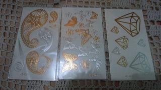 Tatuaje Temporal Metalico Modelos Exclusivos Oro Plata